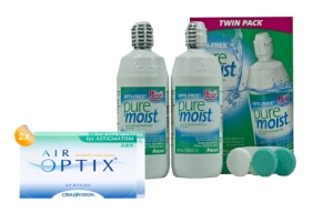 Set 2x Air Optix for Astigmatismus & Optifree Puremoist 2x300ml