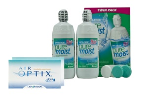 Set 2x Air optix Aqua & Optifree Pure Moist  2x300 ml