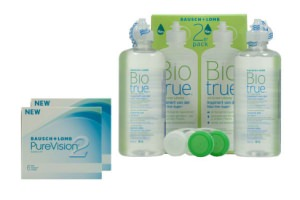 Set 2x Pure Vision 2 & Biotrue 2x300ml