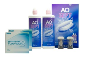 Set 2x Pure Vision 2 & Aosept 2x360ml